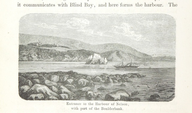 """Boulder Bank from """"New Zealand, its physical geography, geology and natural history, with special reference to the results of Government Expeditions in the provinces of Auckland and Nelson ... Translated from the German original ... by E. Sauter ... With additions ... by the author. Illustrated, etc"""""""