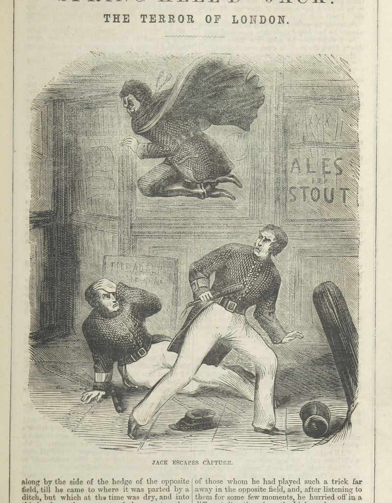 """Jack escapes capture from """"Spring-heel'd Jack: the Terror of London. A romance of the nineteenth century, by the author of the """"Confederate's Daughter"""" ... Illustrated, etc"""""""
