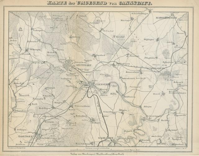 """map from """"Fremdenführer für Cannstatt, Berg und Umgebung. Mit Ansichten und einer topographischen Karte der Umgegend"""""""
