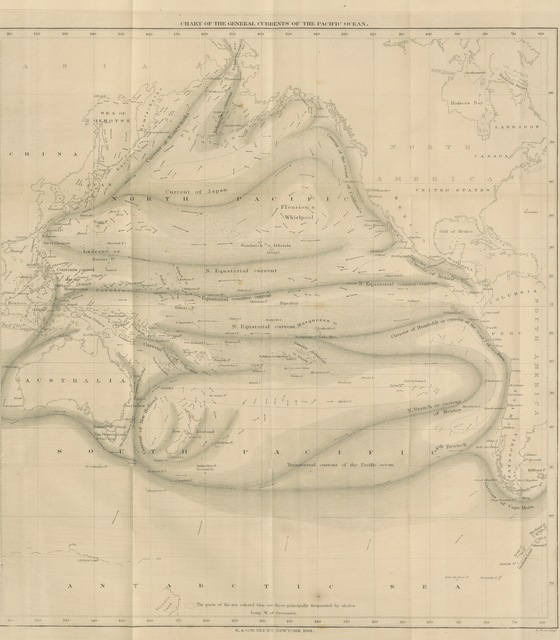 """map from """"General Examination of the Pacific Ocean ... Followed by nautical directions for avoiding hurricanes. Translated from the second French edition, under the direction of Commander C. H. Davis"""""""