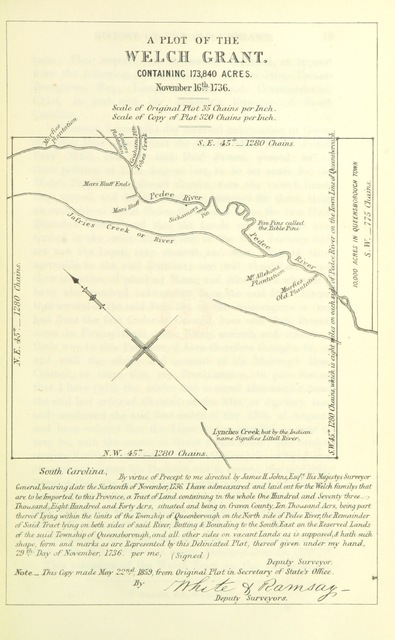 """map from """"History of the old Cheraws: containing an account of the aborigines of the Pedee ... from about A.D. 1730 to 1810, with notices of families and sketches of individuals"""""""