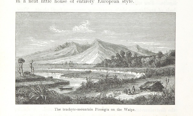 """Mt Pirongia from """"New Zealand, its physical geography, geology and natural history, with special reference to the results of Government Expeditions in the provinces of Auckland and Nelson ... Translated from the German original ... by E. Sauter ... With additions ... by the author. Illustrated, etc"""""""