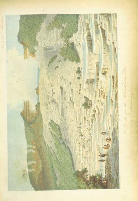 """Pink & White Terraces from """"New Zealand, its physical geography, geology and natural history, with special reference to the results of Government Expeditions in the provinces of Auckland and Nelson ... Translated from the German original ... by E. Sauter ... With additions ... by the author. Illustrated, etc"""""""