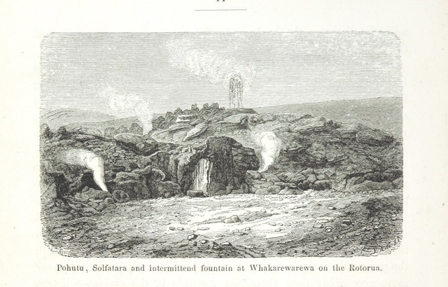 """Pohutu geyser from """"New Zealand, its physical geography, geology and natural history, with special reference to the results of Government Expeditions in the provinces of Auckland and Nelson ... Translated from the German original ... by E. Sauter ... With additions ... by the author. Illustrated, etc"""""""