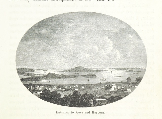 """Rangitoto from """"New Zealand, its physical geography, geology and natural history, with special reference to the results of Government Expeditions in the provinces of Auckland and Nelson ... Translated from the German original ... by E. Sauter ... With additions ... by the author. Illustrated, etc"""""""