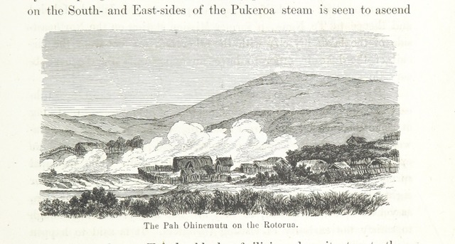 """Rotorua from """"New Zealand, its physical geography, geology and natural history, with special reference to the results of Government Expeditions in the provinces of Auckland and Nelson ... Translated from the German original ... by E. Sauter ... With additions ... by the author. Illustrated, etc"""""""