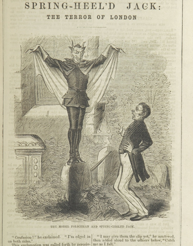 """Spring-Heeled Jack from """"Spring-heel'd Jack: the Terror of London. A romance of the nineteenth century, by the author of the """"Confederate's Daughter"""" ... Illustrated, etc"""""""