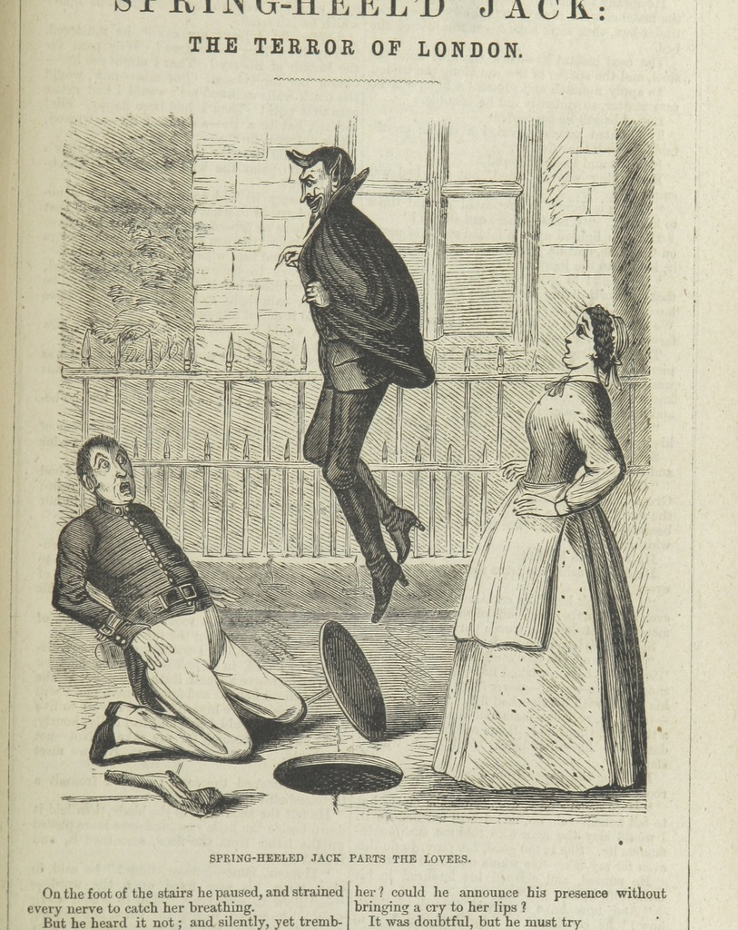 """Spring-Heeled Jack parts the lovers from """"Spring-heel'd Jack: the Terror of London. A romance of the nineteenth century, by the author of the """"Confederate's Daughter"""" ... Illustrated, etc"""""""