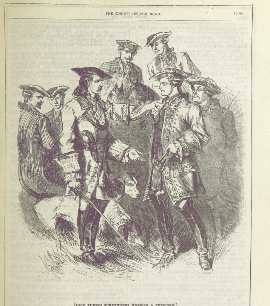 "Dick Turpin surrenders himself a prisoner from ""The Black Highwayman. (Being the second series of Black Bess.) [By Edward Viles.]"""