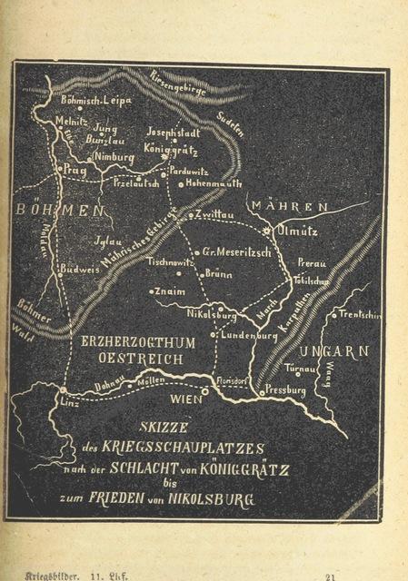 """map from """"Deutschlands Wiedergeburt. Chronik für das sächsische Volk. Getreue Darstellungen der-Feldzüge des ... Jahres 1866. ... Bearbeitet [by] E. H. [and] W. v. Trützschler, etc"""""""
