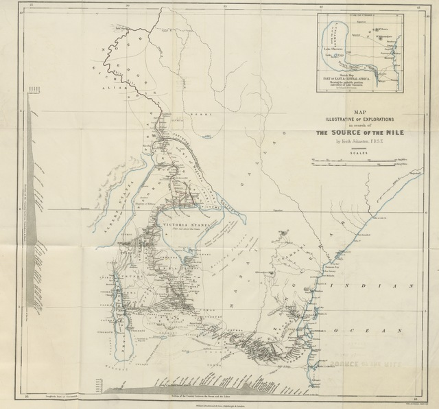 """map from """"Lake Victoria; a narrative of explorations in search of the source of the Nile. Compiled from the Memoirs of Captains Speke and Grant, by G. C. Swayne. [With illustrations and map.]"""""""
