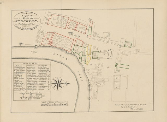 """map from """"The Local Records of Stockton and the Neighbourhood; or, a register of memorable events, chronologically arranged, which have occurred in and near Stockton Ward and the North-eastern parts of Cleveland"""""""