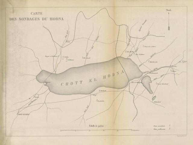 """map from """"Voyage d'Exploration dans les bassins du Hodna et du Sahara"""""""