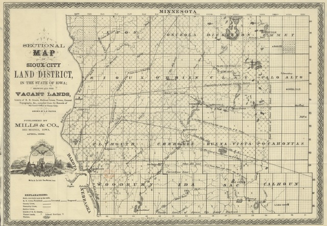 "map from ""The Free Lands of Iowa. Being an accurate description of the Sioux City land-district, etc"""