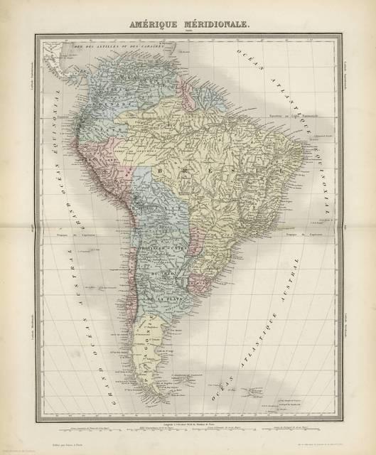 Amérique Méridionale : [Carte d'utilite générale, et qui ont pour but particulier de servir à l'intelligence de nos guerres maritimes depuis Louis XIV jusqu'à nos jours]