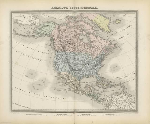 Amérique Septentrionale : [carte d'utilité générale, et qui ont pour but particulier de servir à l'intelligence de nos guerres maritimes depuis Louis XIV jusqu'à nos jours]