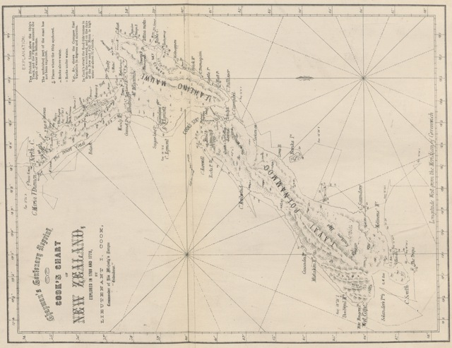 "map from ""Chapman's Centenary Memorial of Captain Cook's Description of New Zealand one hundred years ago. [Extracts from Cook's three voyages of circumnavigation, edited by George T. Chapman with the assistance of Albin Martin. With plates.]"""