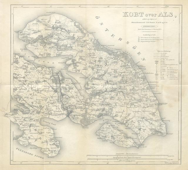 """map from """"Fremstilling af Krigsbegivenhederne paa Als, fra den 18 de April til den 1ste Juli 1864. Med Krigsministeriets Bemyndigelse udgiven af J. T. Ravn. Med et Kort over Als"""""""
