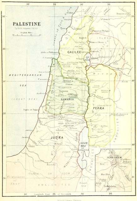 "map from ""Two Months in Palestine; or, a guide to a rapid journey to the chief places of interest in the Holy Land. By the author of ""Two Months in Spain,"" etc"""