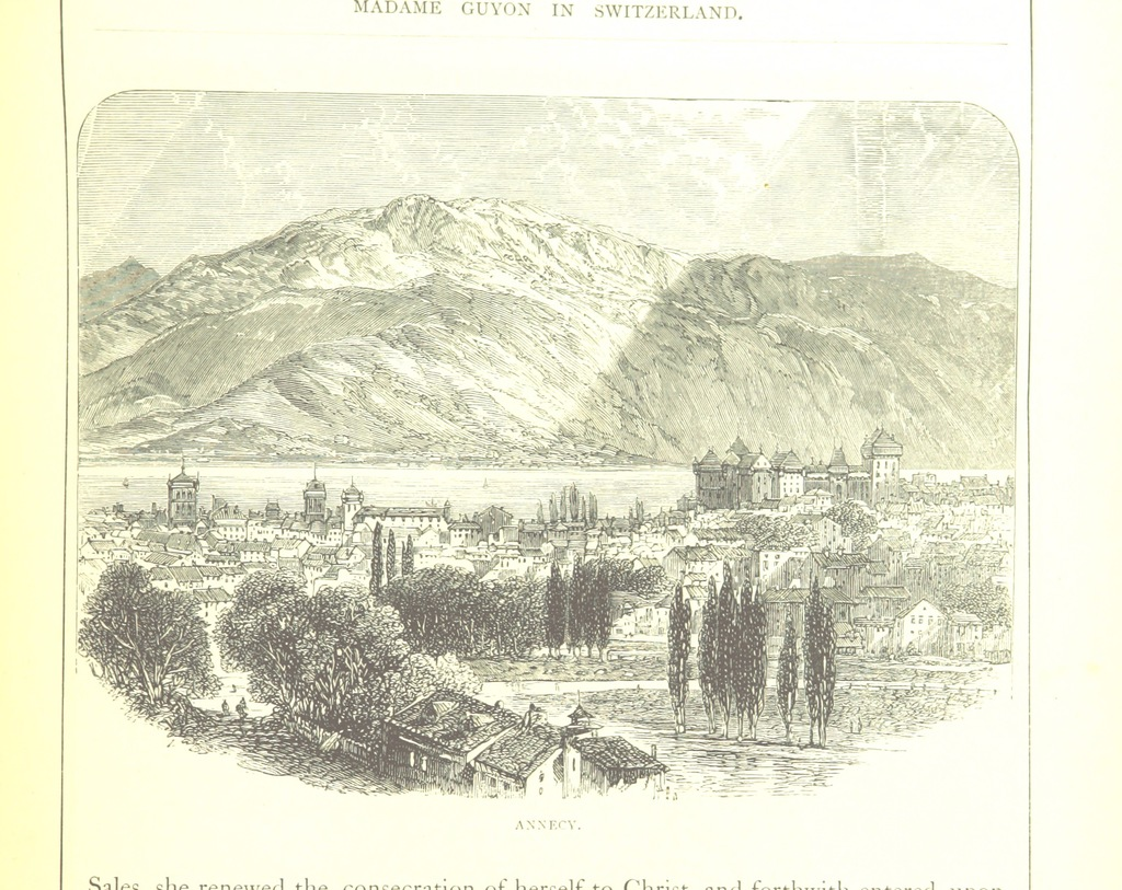 "Lake Annecy from ""[Swiss Pictures drawn with pen and pencil [by S. Manning]. The illustrations by E. Whymper, etc. [Published by the Religious Tract Society.]]"""