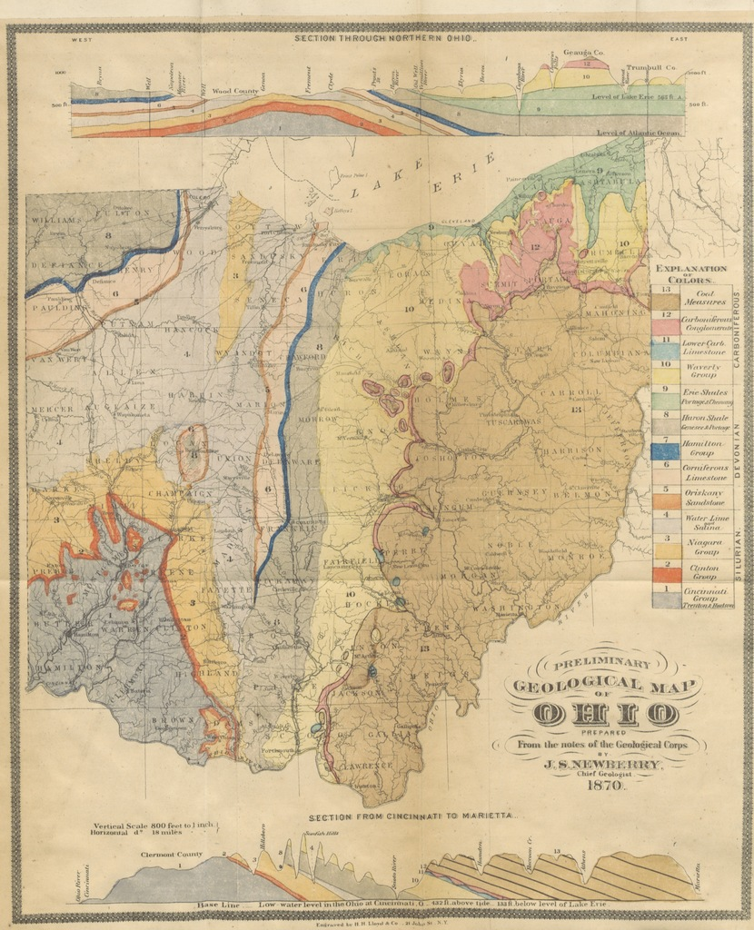 """map from """"Geological Survey of Ohio. Part I. Report of progress in 1869 (1870). By J. S. Newberry, chief geologist, etc. Part II. Report of progress in the second district, by E. B. Andrews. Part III. Report on Geology of Montgomery County, by E. Orton. [With maps.]"""""""