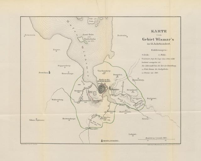 """map from """"Geschichte der Stadt Wismar von der Gründung bis zum Ende des 13. Jahrhunderts. [With a map.]"""""""