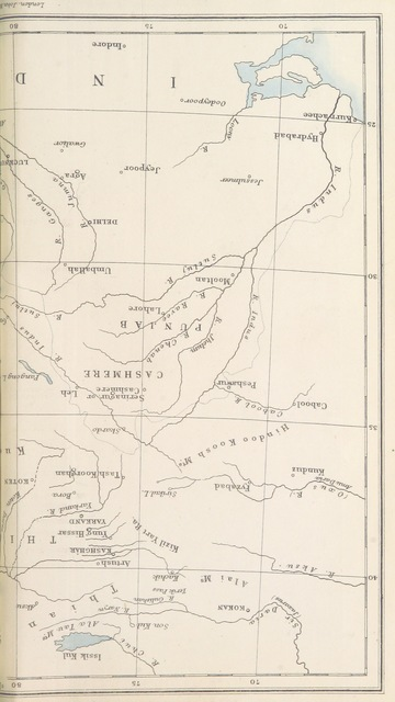 """map from """"Visits to High Tartary, Yârkand, and Kâshghar, ... and return journey over the Karakoram Pass ... With map and illustrations"""""""