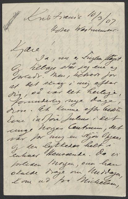 Brev fra Grieg til Beyer 1906-1907