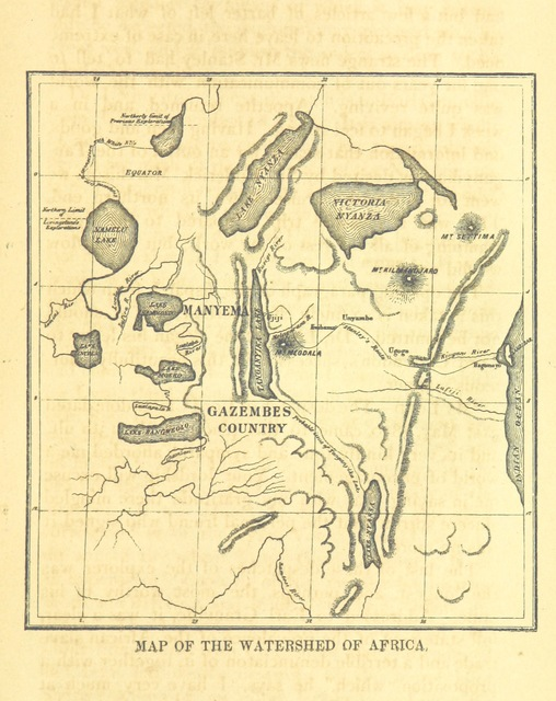 "map from ""Explorations in Africa, by Dr. David Livingstone, and others, giving a full account of the Stanley-Livingstone expedition of search ... as furnished by Dr. Livingstone and Mr. Stanley ... Edited by L. D. Ingersoll ... With maps and illustrations"""