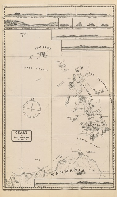 "map from ""The Cruise of the Freak. A narrative of a visit to the islands in Bass and Banks Straits, with some account of the islands ... With illustrations and chart"""