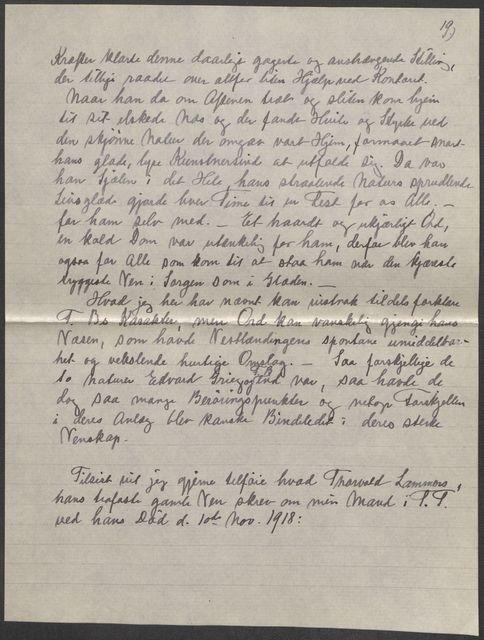 Marie Beyers notat om brevene