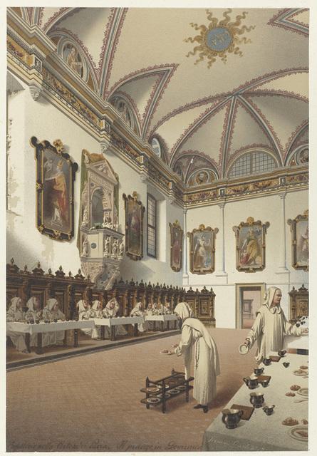 refettorio nella Certosa di Pavia. Il pranzo in Domenica