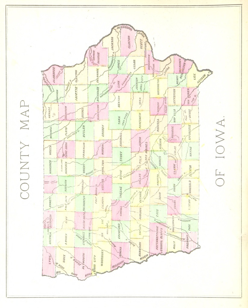 "map from ""Manual of Physical Geography and Institutions of the State of Iowa"""