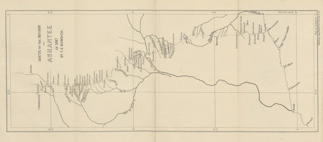 """map from """"[Mission from Cape Coast Castle to Ashantee; with a statistical account of that kingdom, and geographical notices of other parts of the interior of Africa. [With plates and maps.]]"""""""