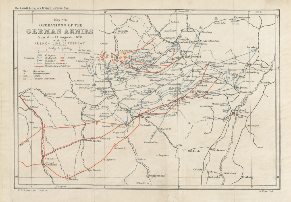 """map from """"The Franco-German War, to the Catastrophe of Sedan and the Fall of Strassburg, etc. [A translation by F. Dwyer of """"Der deutsch-französische Krieg"""" by A. Borbstaedt, with additions and modifications.]"""""""