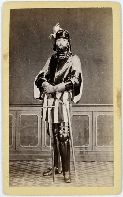 Maskerade portret van Delftse student als soldaat