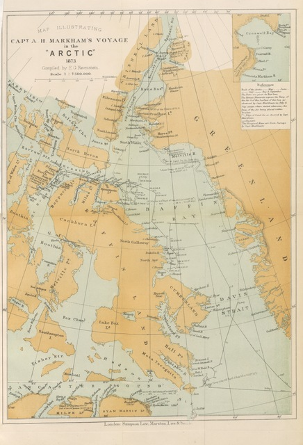 """map from """"A Whaling Cruise to Baffin's Bay and the Gulf of Boothia. And an account of the rescue of the crew of the """"Polaris."""" ... With an introduction by ... S. Osborn, etc"""""""