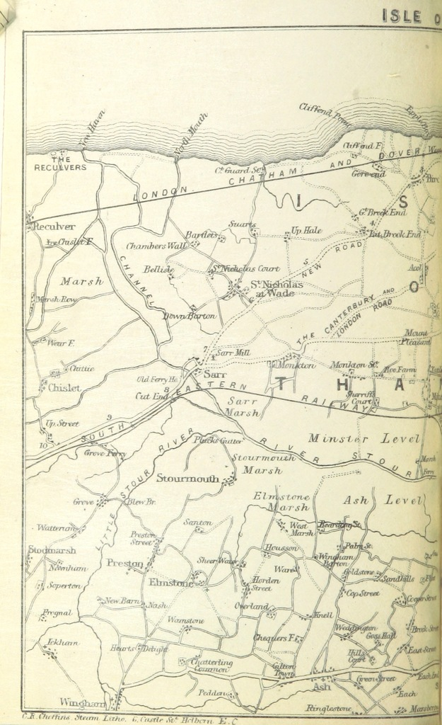 """Map from """"The Tourist's Complete Guide to the Isle of Thanet and neighbourhood ... By Spectator ... With a map"""""""