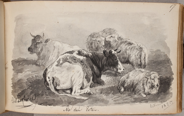 Afbeelding: vee (schapen, koeien) in rust / door D[irk] v[an] L[okhorst] (1818-1893)