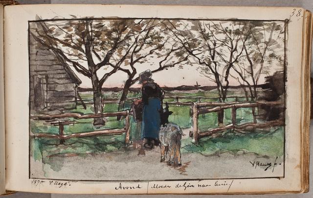 Afbeelding: vrouw leidt geit naar stal / door A[nton] Mauve (1838-1888)