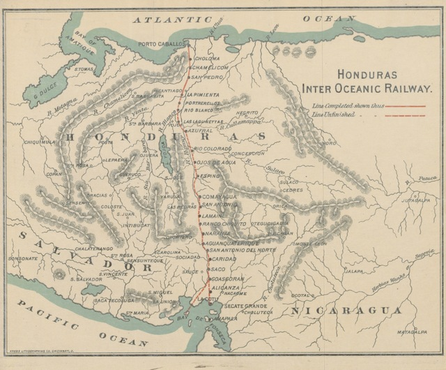 """map from """"Journey in Honduras and Jottings by the Way. Inter-oceanic Railway"""""""