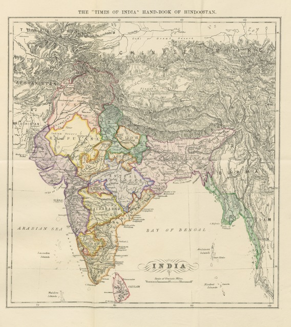 """map from """"The Prince's Guide Book. The Times of India Handbook of Hindustan, etc"""""""