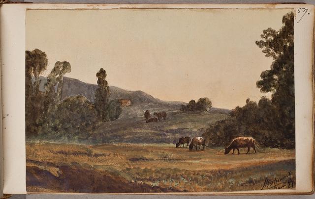 """""""In Hoogland"""", heuvelachtig landschap met vee / door Stratenus v[an] V[oshol]"""