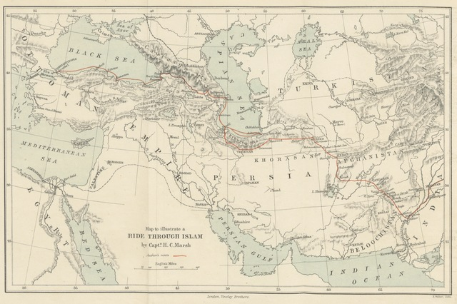 "map from ""A ride through Islam: being a journey through Persia and Afghanistan to India, viâ Meshed, Herat and Kandahar"""