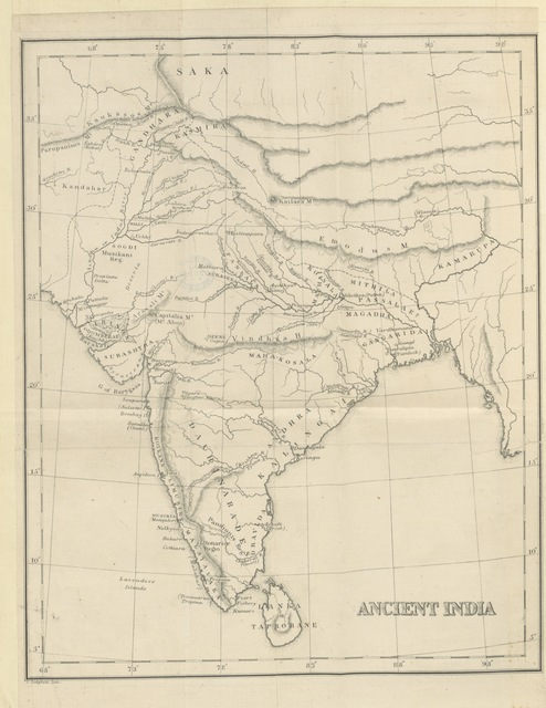 "map from ""Ancient India as described by Megasthenes and Arrian. Being a translation of the fragments of the Indika of Megasthenes collected by Dr. Schwanbeck and of the first part of the Indika of Arrian, by J. W. McCrindle ... With ... notes ... Reprinted, with additions, from the ""Indian Antiquary,"" etc"""
