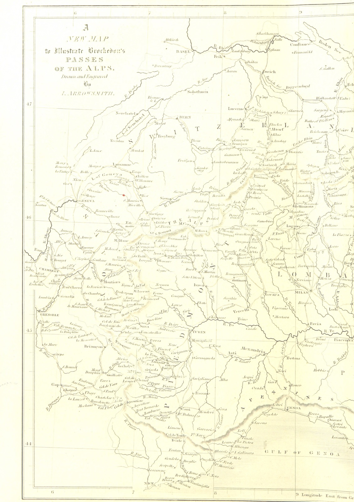 Map Of France Switzerland.Map From Illustrations Of The Passes Of The Alps By Which Italy