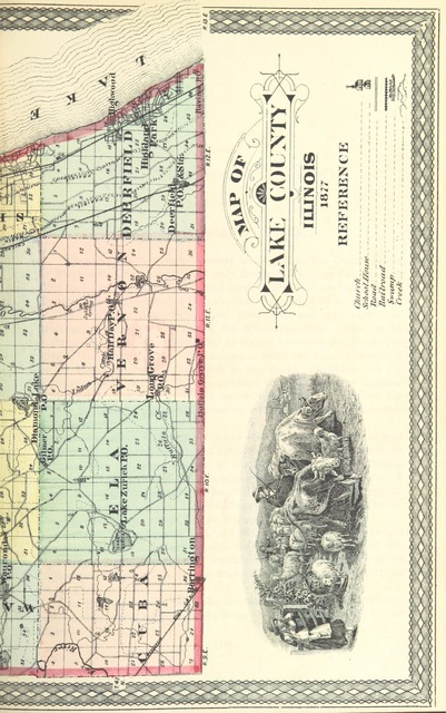 """map from """"The Past and Present of Lake County ... containing a history of the County [by E. M. Haines]: ... Illustrated"""""""
