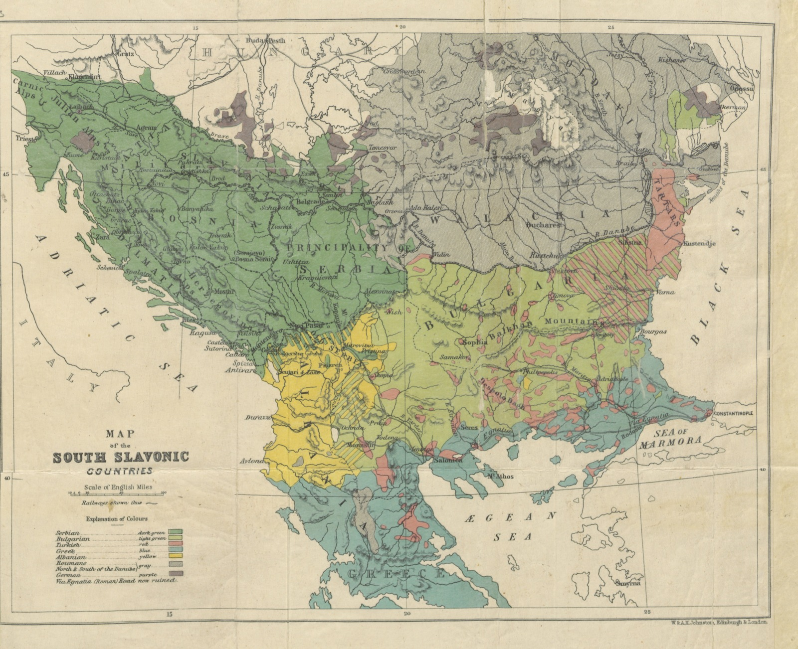Map Of Europe With Provinces.Map From Travels In The Slavonic Provinces Of Turkey In Europe