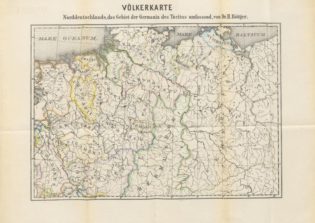 """map from """"Wohnsitze der Deutschen in dem von Tacitus in seiner Germania beschriebenen Lande, aus den Originalquellen des Julius Cäsar, Strabo, Vellejus, Tacitus, etc"""""""