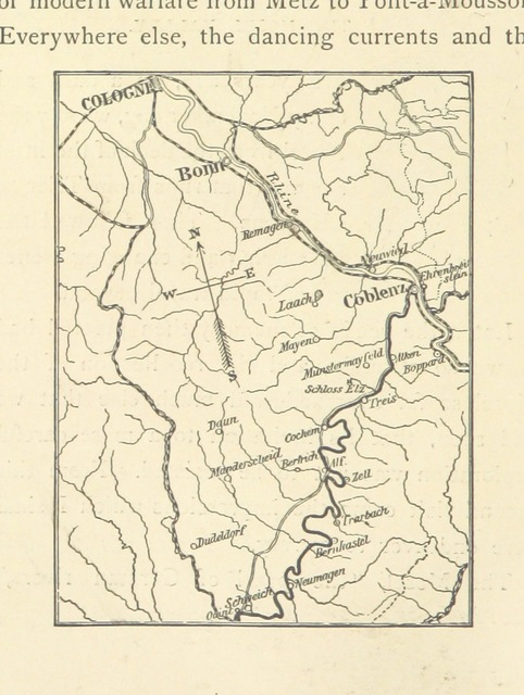 "map from ""The Bride of the Rhine. Two hundred miles in a Mosel row-boat. ... To which is added a paper on the Latin poet Ausonius and his poem ""Mosella."" By C. T. Brooks. Reprinted, with additions, from Scribner's Monthly"""